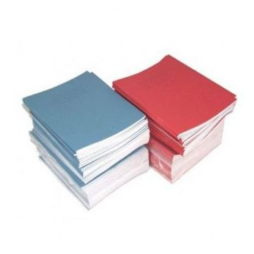 SCHOOL EXERCISE BOOKS BLUE COVER 8mm Lined with Margin 48 Page A5 [Pack of 25]